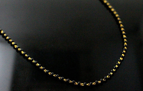 22k 22ct Gold Yellow BLACK beads STONE CHAIN ADJUST LENGHT c766 | Royal Dubai Jewellers