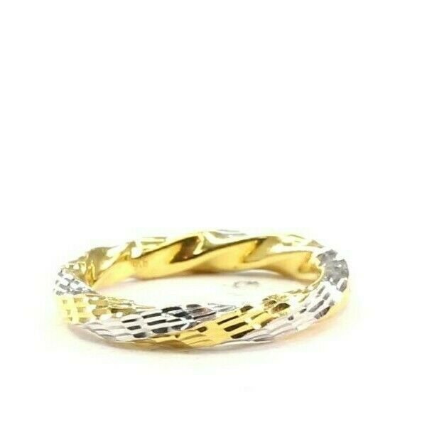 22k Ring Solid Gold ELEGANT Charm Ladies Two Tone Ring SIZE 9