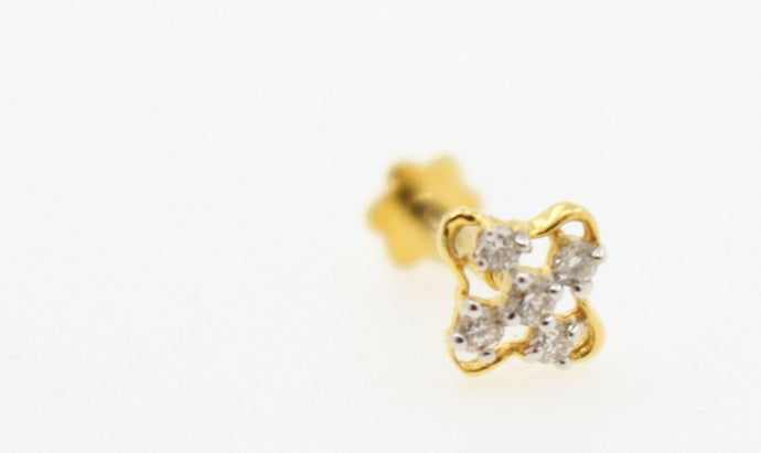 Authentic 18K Yellow Gold Charm Nose Pin Stud Diamond VS2 n319 | Forever22karat