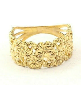 "22k Ring Solid Gold ELEGANT Charm Woman Floral Band  SIZE 8 ""RESIZABLE"" r2442"