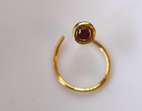 Authentic 18K Yellow Gold Nose Pin Ring Brown Birth Stone January n121 | Forever22karat