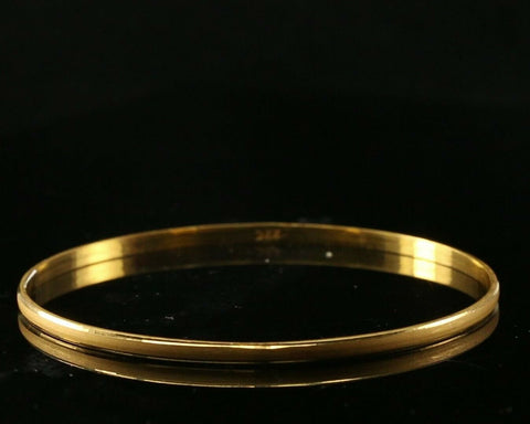 22k Bangle Solid Gold Plain Matte Finish Kara Design Size 2-3/8 inch B3054 | Royal Dubai Jewellers