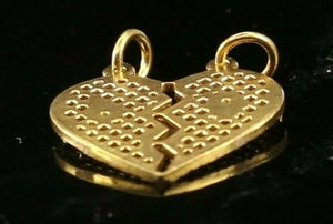22k Pendant Solid Gold ELEGANT Simple Joint Heart Diamond Cut Pendant  P1527