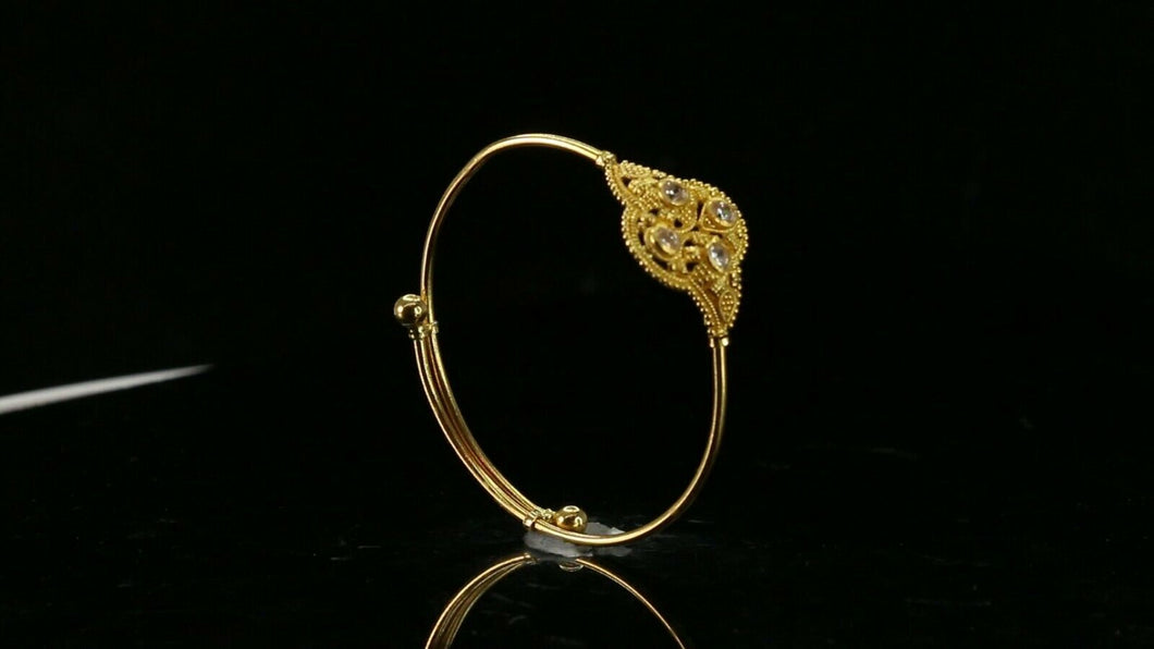 22k Bangle Solid Gold Simple kids Two Tone Filigree Adjustable Bangle cb1340