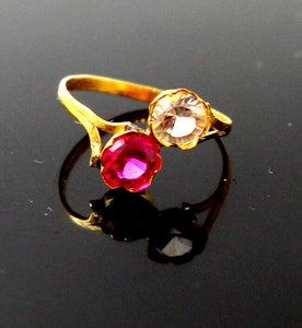 "22k 22ct Solid Gold BEAUTIFUL BABY Ring Pink Stone SIZE 0.9 ""RESIZABLE"" r1230 