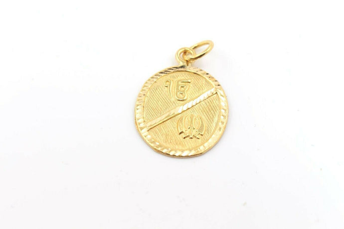 22k 22ct Solid Gold SIKH RELIGIOUS KHANDA ONKAR Pendant Diamond Cut p1003 ns | Royal Dubai Jewellers