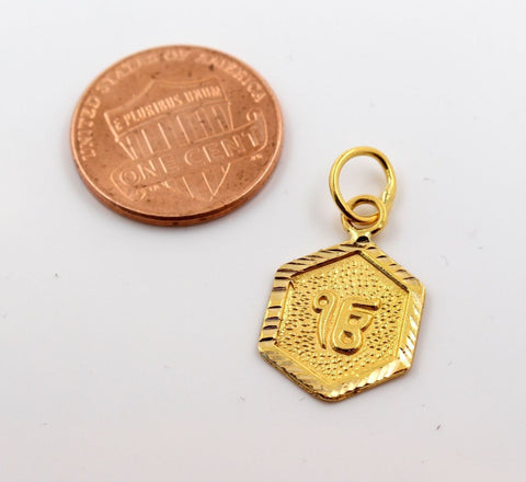 22k 22ct Solid GOLD SIKHI RELIGIOUS ONKAR PENDANT Design p1040 ns | Royal Dubai Jewellers