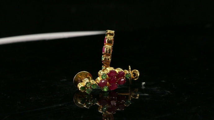 22k Earrings Solid Gold ELEGANT Simple Stones Encrusted  Studs Design e3819