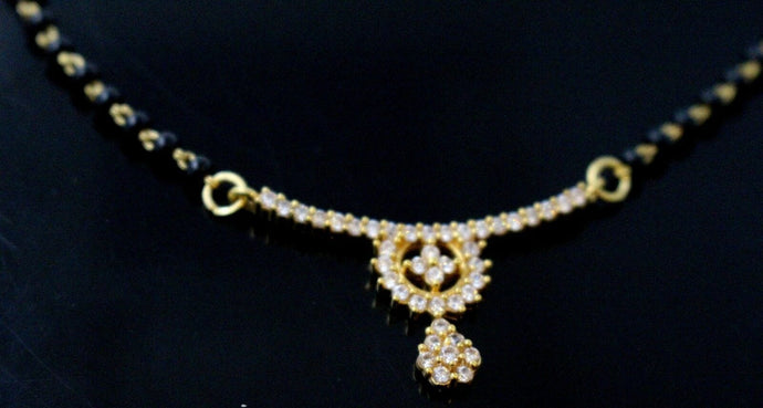 22k 22ct Yellow Solid Gold Chain BLACK BEADED  MANGALSUTRA CHAIN NECKLACE c865 | Royal Dubai Jewellers