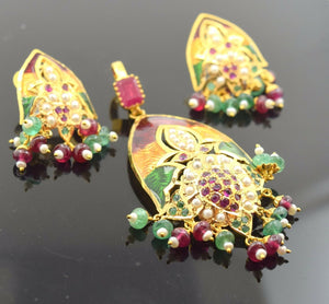 22k Solid Gold Ruby EMERALD PEARL ENAMEL Pendant Set Earrings Jadao S29 | Royal Dubai Jewellers