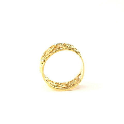 "22k Ring Solid Gold ELEGANT Charm Ladies Floral Ring SIZE 7 ""RESIZABLE"" r2097 
