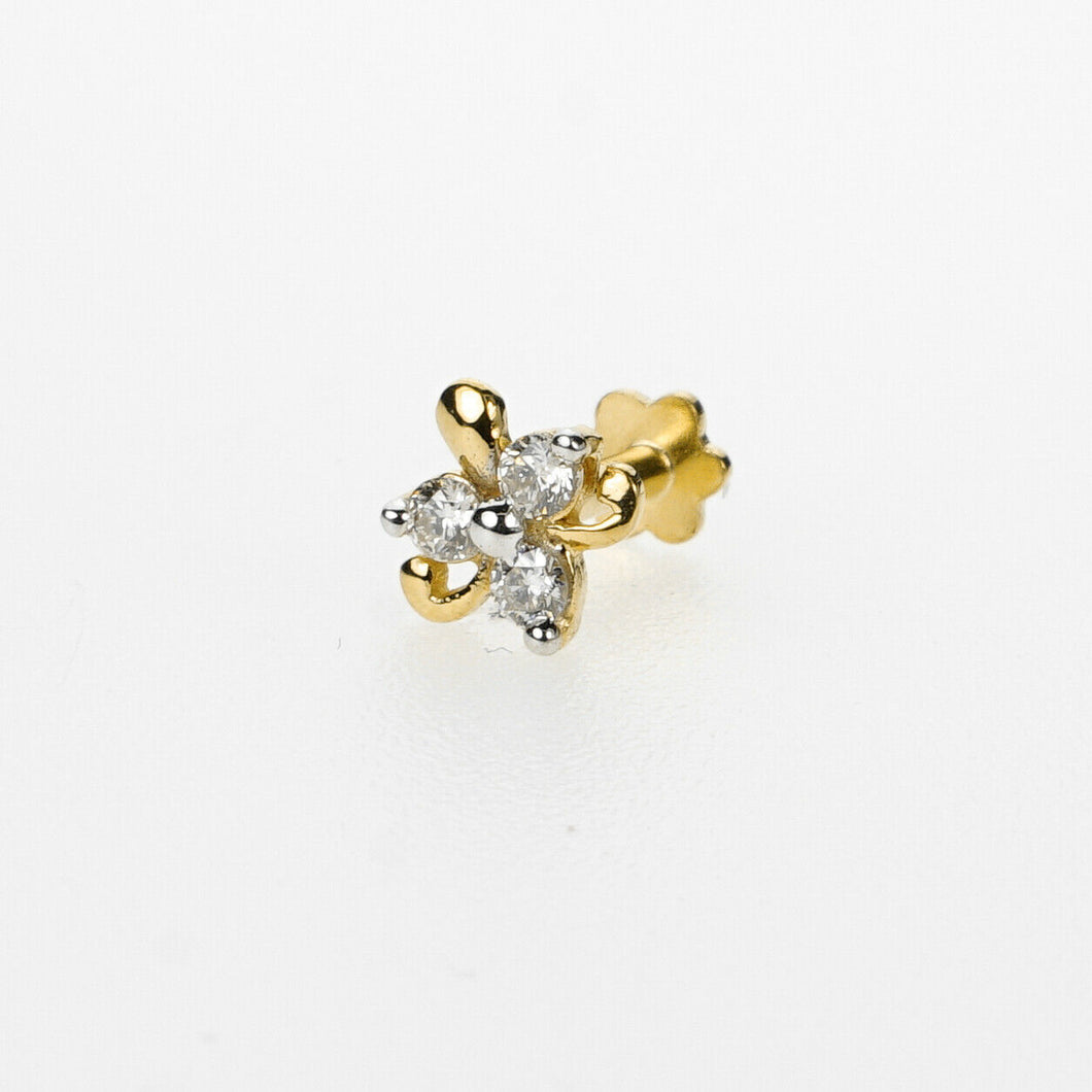 18k Stunning Modern Diamond Solid Gold Nose pin Unique Design Comfort Fit NP37