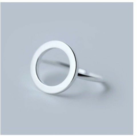 Solid White Gold Ring Simple Round Ring Symbol Design SM25