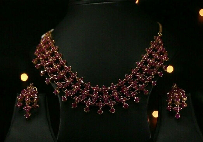 22k Necklace Set Beautiful Charm Solid Gold Classic Full Ruby For Ladies #LS166