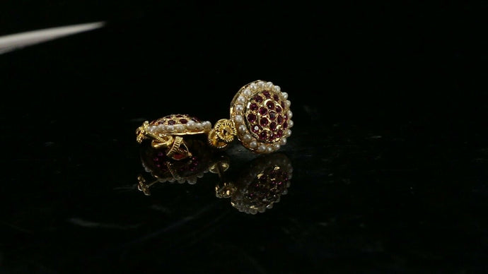 22k Earrings Solid Gold ELEGANT Simple Stones Encrusted  Studs Design E3889