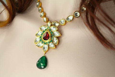 22k 22ct Solid Gold Elegant Traditional Kundan Set Necklace with STONE KS100 | Royal Dubai Jewellers