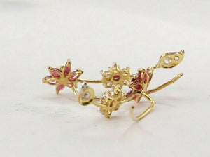 22k 22ct Solid Gold ELEGANT Simple Floral Earring With Stones Design E6198 | Royal Dubai Jewellers