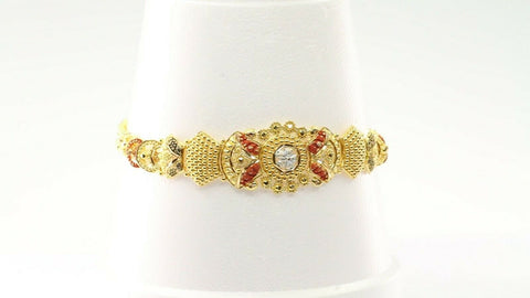 22k 22ct Jewelry Solid Gold Elegant Charm Three Tone BRACELET LENGTH 8 inch B963 | Royal Dubai Jewellers