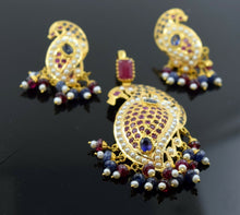 22k Solid Gold Natural RUBY BLUE SAPPHIRE Pearl Pendant Set Earrings S73 Peacock | Royal Dubai Jewellers