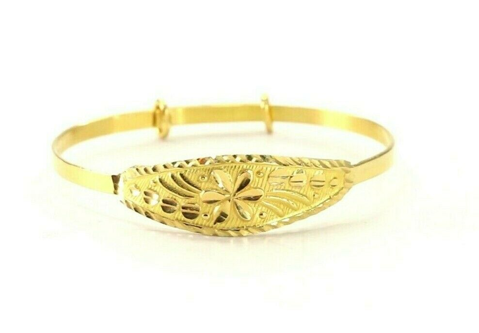 22k Bangle Solid Gold Simple Children Plain Diamond Cut Bangle cb1301