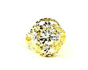 "22k Ring Solid Gold ELEGANT Charm Two Tone Ring SIZE 6 ""RESIZABLE"" r2886"