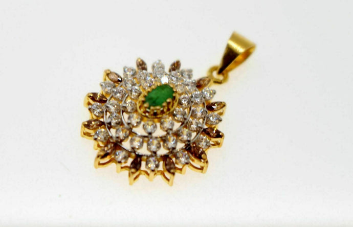 22k 22ct solid gold round sphere emerald zerconia pendant set p1157 | Royal Dubai Jewellers