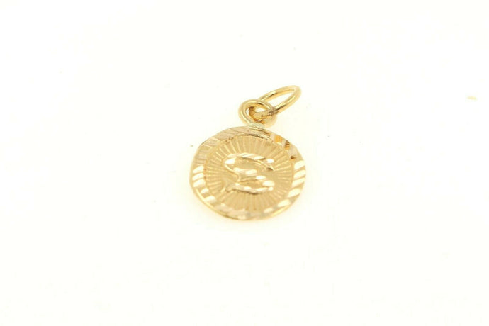 22k 22ct Solid Gold Charm Letter S Pendant Oval Design p1132 ns | Royal Dubai Jewellers
