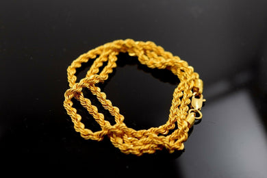 22k Yellow Solid Gold Chain Rope Necklace 4.3mm  Modern Design mf C194 | Royal Dubai Jewellers