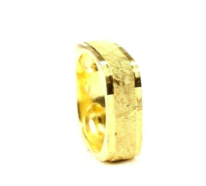 22k Ring Solid Gold ELEGANT Square Sand Blasted SIZE 8-1/2