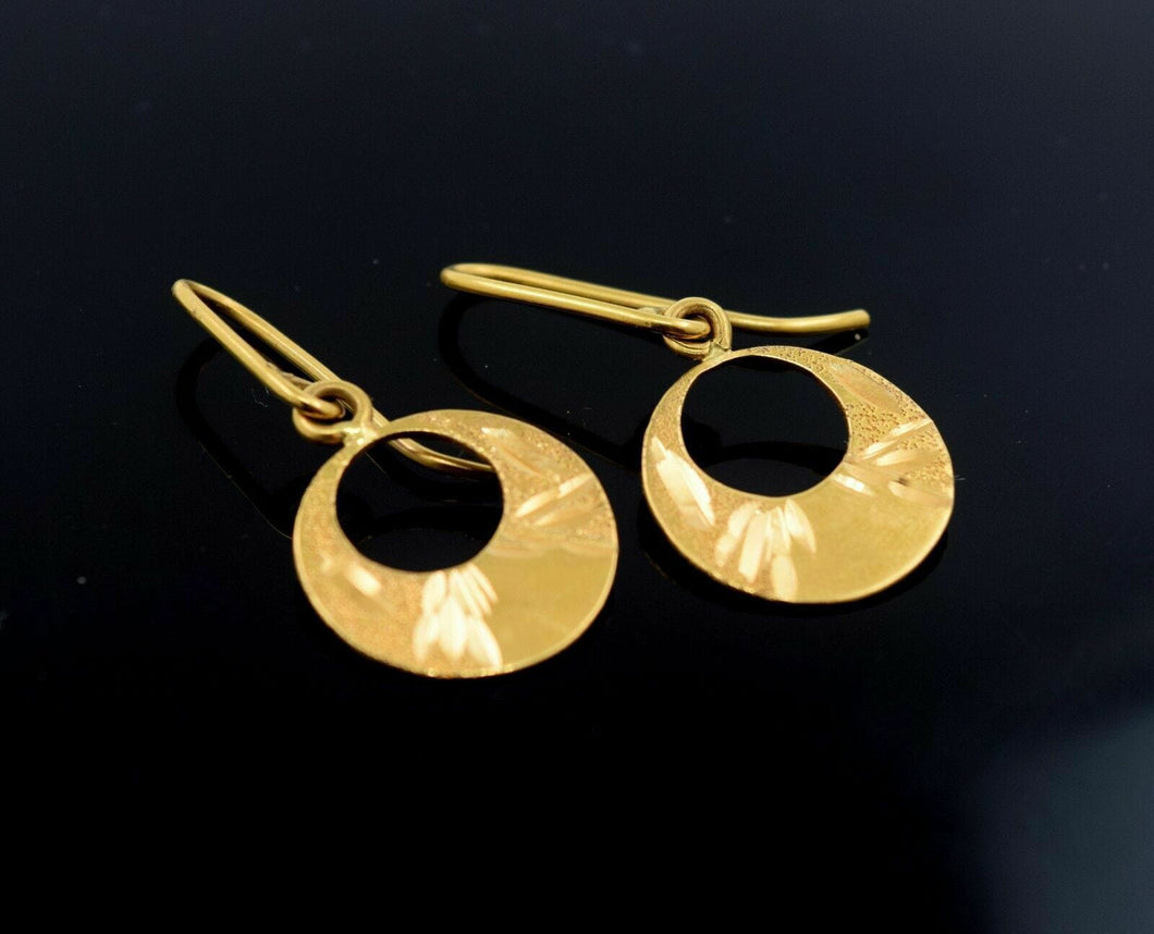 22k Solid Gold ELEGANT LONG EARRINGS DANGLING Hanging Classic Design MV | Royal Dubai Jewellers
