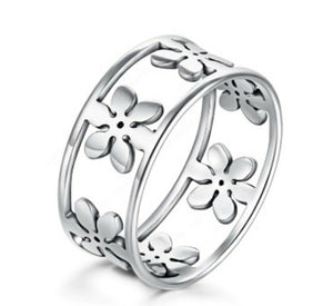 Solid White Gold Ring Elegant Infinity Floral Design SM13