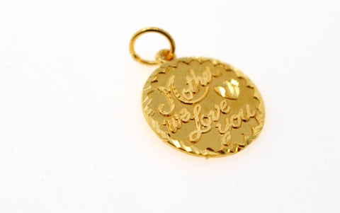 22k 22ct Solid Gold Charm Mom Pendant Round Design p1226 ns | Royal Dubai Jewellers