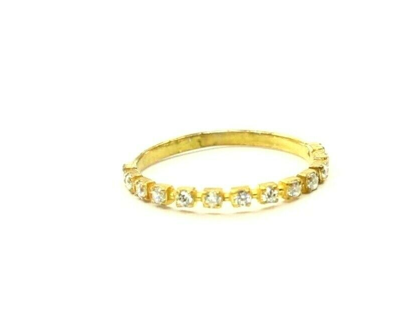 22k Ring Solid Gold ELEGANT Charm Ladies Stone Band  SIZE 7.75
