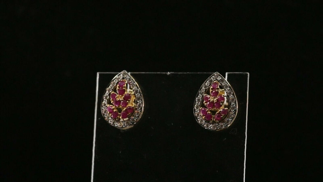 22k 22ct Solid Gold ELEGANT Simple Tear Drop Earring with Stones Design E6196 | Royal Dubai Jewellers