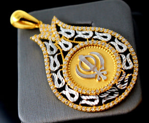 22k 22ct Solid Gold Sikh Religious EK ONKAR pendant Two Tone Modern Design p714 | Royal Dubai Jewellers