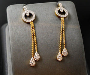 22k 22ct Solid Gold elegant long hanging  zirconia clusters earrings studs e5454 | Royal Dubai Jewellers