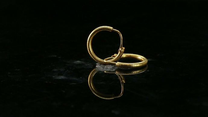 22k Earrings Solid Gold ELEGANT Simple Diamond Cut Hoop with Plain Design e3856