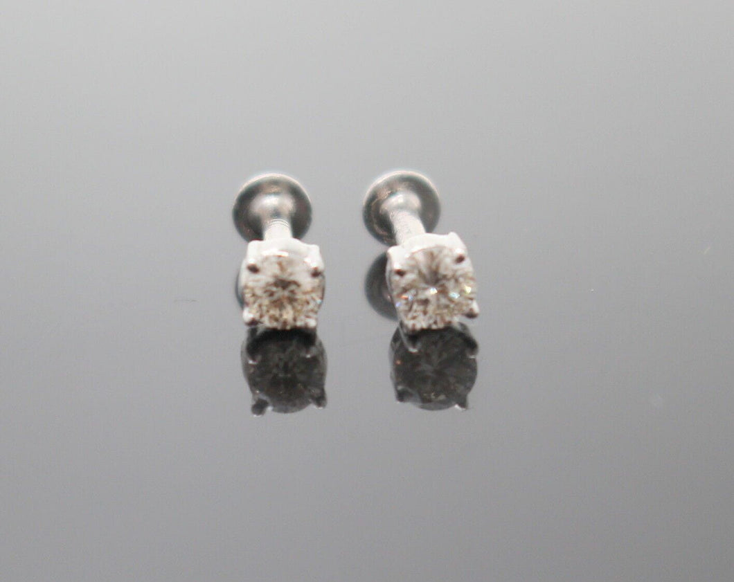 Authentic 18K White Gold Charm Earring Stud Diamond VS2 n203 | Forever22karat