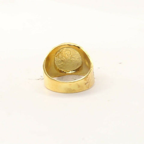 22ct 22k Solid Gold Elegant Geometric Design Men Ring Size R2057mon | Royal Dubai Jewellers