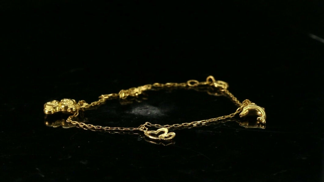 22k Bracelet Solid Gold Simple Classic Design with mixed Charms b4108