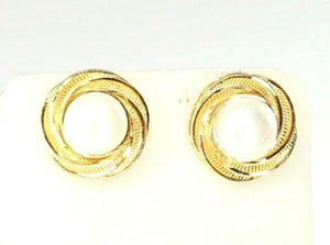 22k Earrings Solid Gold ELEGANT Simple Floral Round Pearl Studs Design e7310