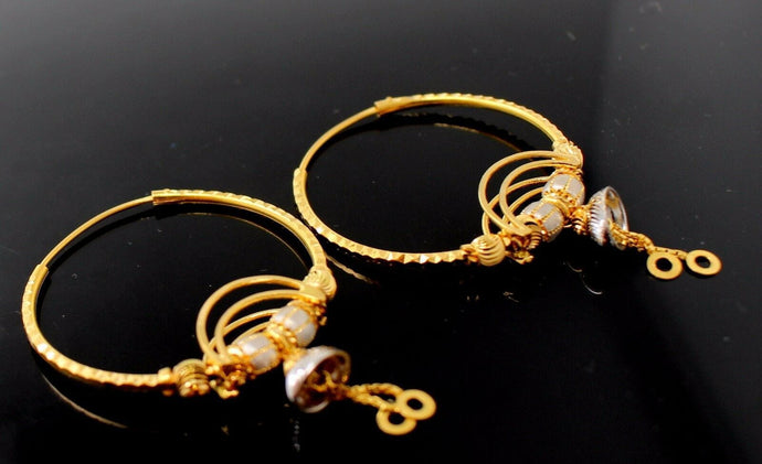 22k 22ct Solid Gold ELEGANT Large Hoops Earring Two Tone Modern Design e5187 | Royal Dubai Jewellers