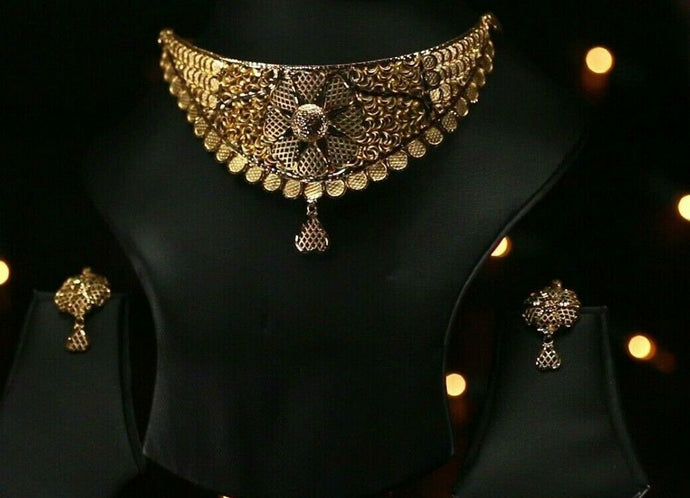 22k Beautiful Solid Gold Classic Filigree Choker Necklace Set For Ladies LS185