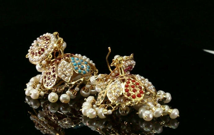 22k Solid Gold ELEGANT Simple Filigree Jhumki Design with Color Stones E7303