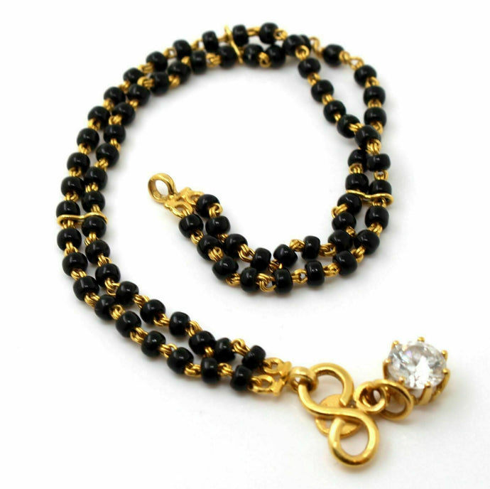 22K 22CT SOLID GOLD BLACK BEADED BRACELET B772 | Royal Dubai Jewellers