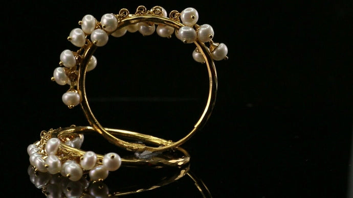 22k 22ct Solid Gold ELEGANT Simple Hoops With Natural Pearl Design E6079 | Royal Dubai Jewellers