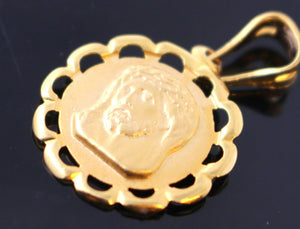 22k 22ct Solid Gold Christian Jesus Pendant Charm Locket Diamond Cut p752 | Royal Dubai Jewellers