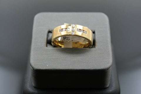 18k Solid Gold Elegant Ladies Modern Zirconia Shiny Finish Band Ring R9474m | Royal Dubai Jewellers