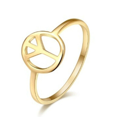 Ladies Solid Gold Ring Simple World Peace Symbol Design SM26