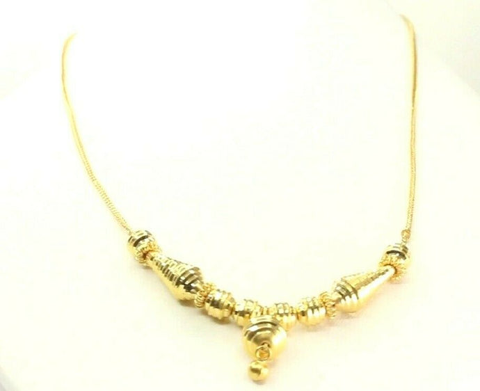 22k Yellow Solid Gold Chain Necklace Rope Design Charm Length 18 inch C3138